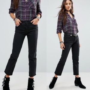 Free People Black Jasper Straight Cropped Jeans